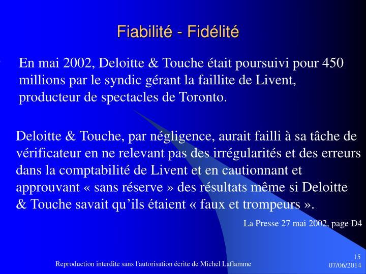 Fiabilité - Fidélité