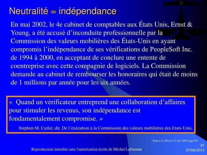 Neutralité = indépendance
