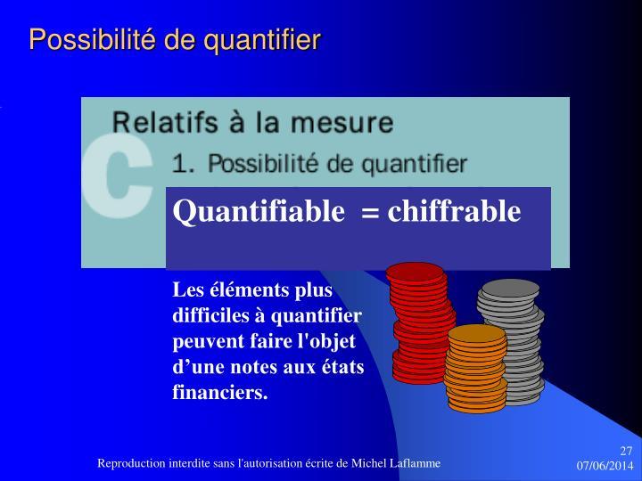 Possibilité de quantifier