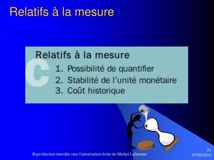 Relatifs à la mesure