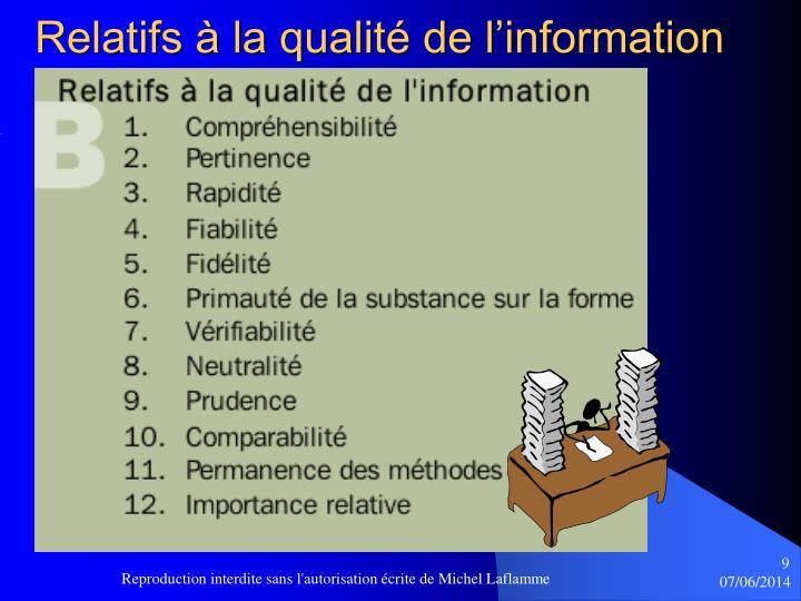 Relatifs à la qualité de l'information