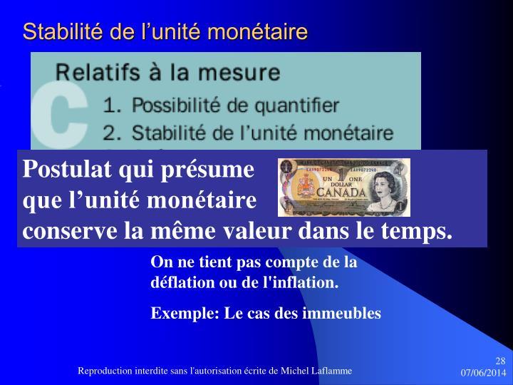 Stabilité de l'unité monétaire