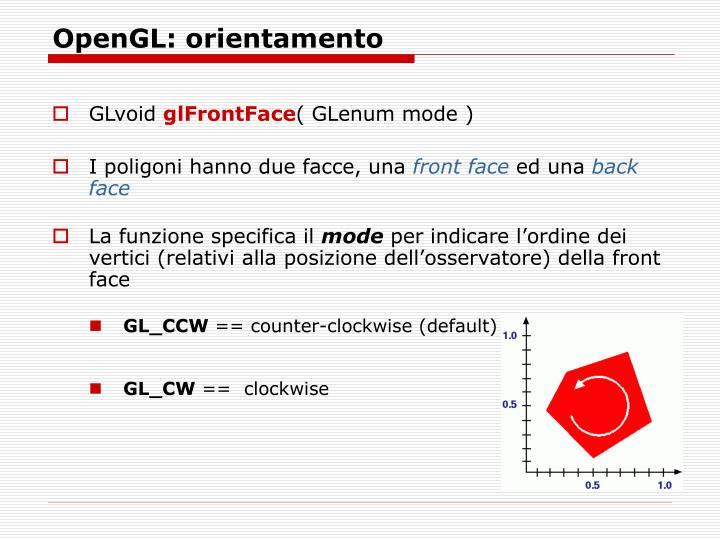 OpenGL: orientamento