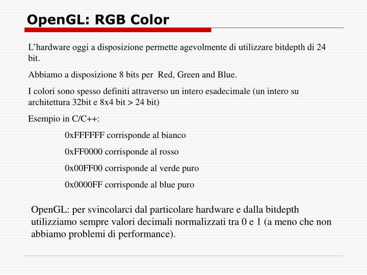 OpenGL: RGB Color