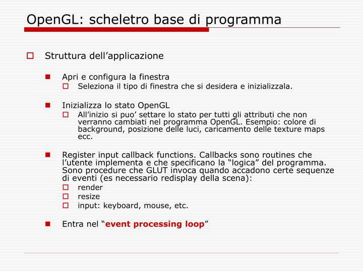 OpenGL: scheletro base di programma