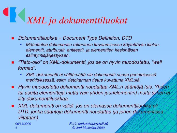 XML ja dokumenttiluokat