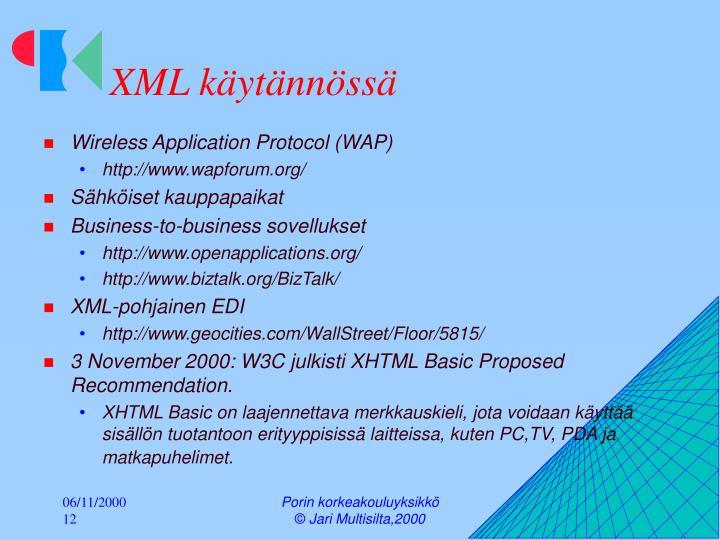 XML käytännössä