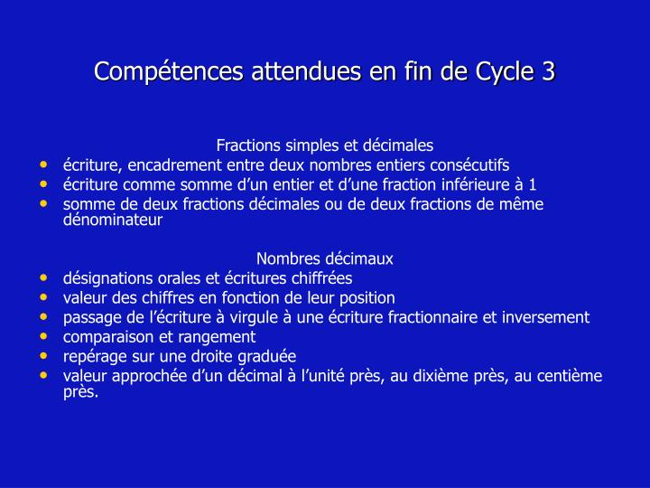Comp tences attendues en fin de cycle 3