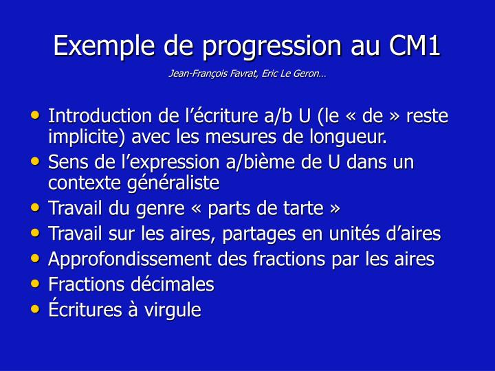 Exemple de progression au CM1