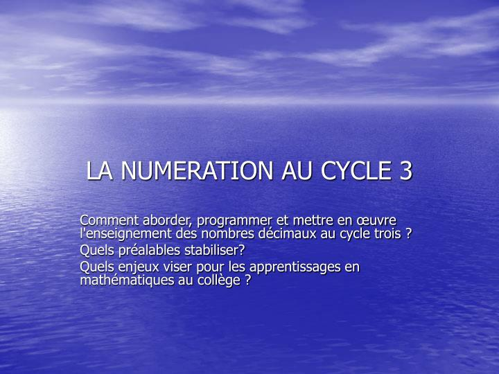 La numeration au cycle 3