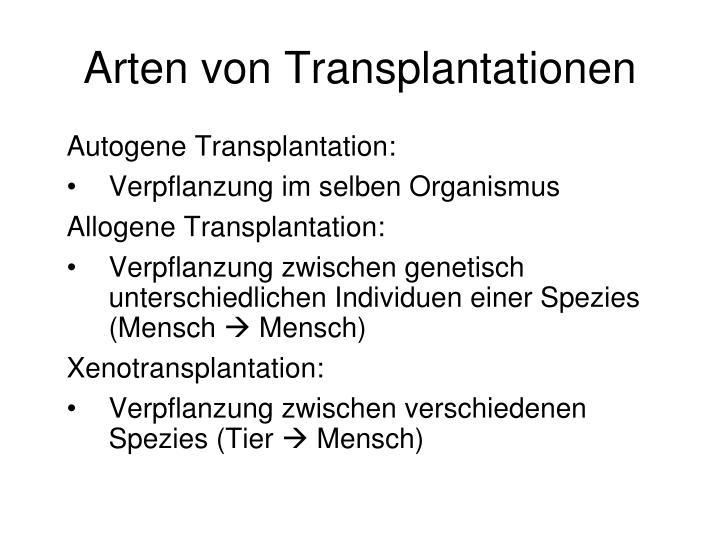 Arten von Transplantationen