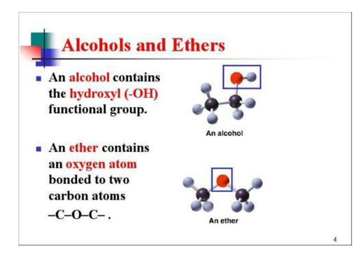 Alcohols and Ether