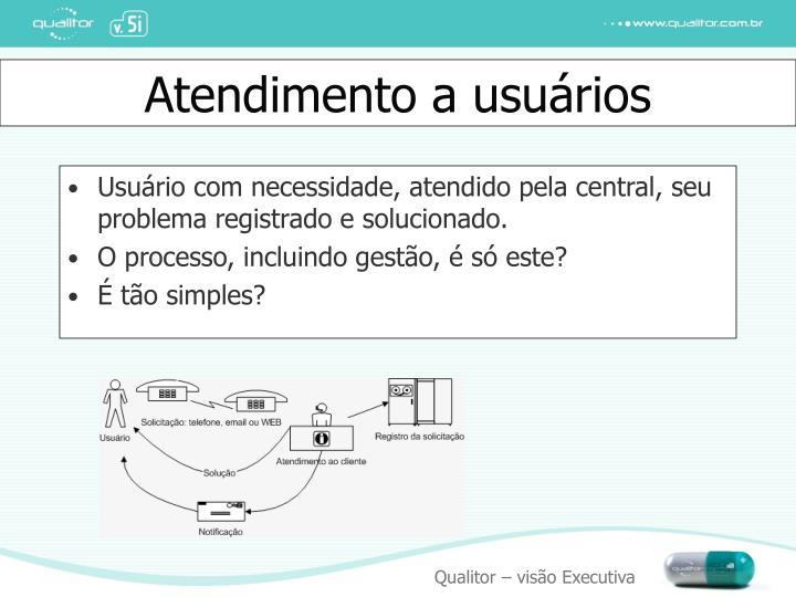 Usuário com necessidade, atendido pela central, seu problema registrado e solucionado.