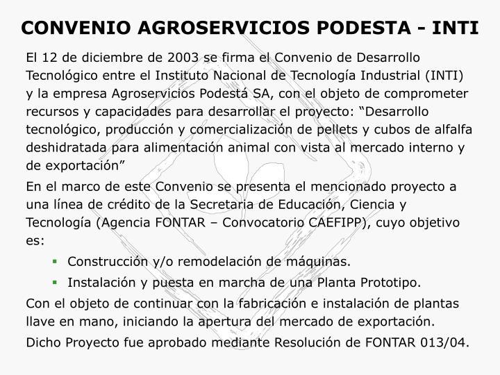 CONVENIO AGROSERVICIOS PODESTA - INTI