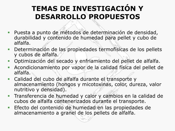 TEMAS DE INVESTIGACIÓN Y DESARROLLO PROPUESTOS