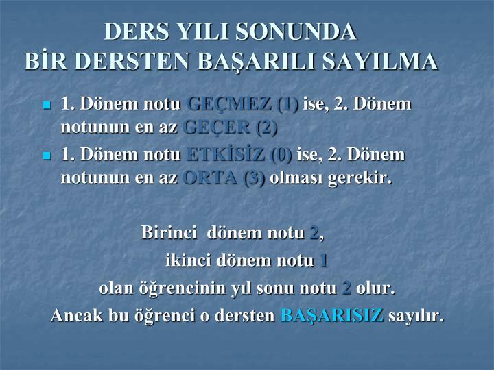 DERS YILI SONUNDA