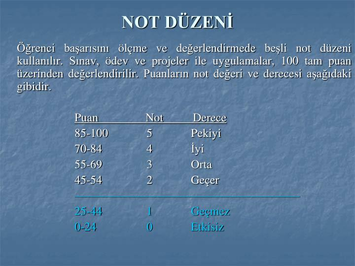 NOT DÜZENİ