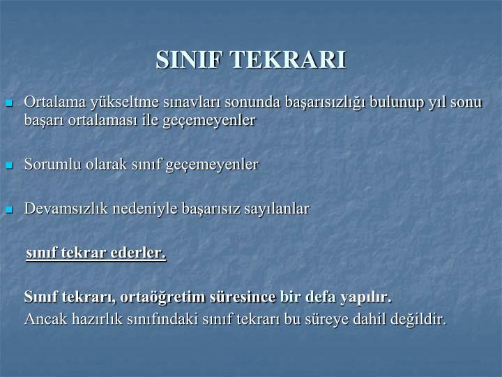 SINIF TEKRARI