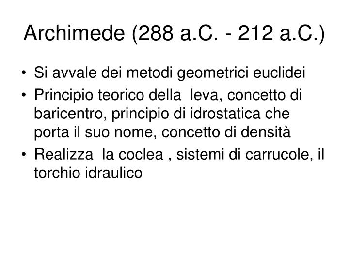 Archimede (288 a.C. - 212 a.C.)