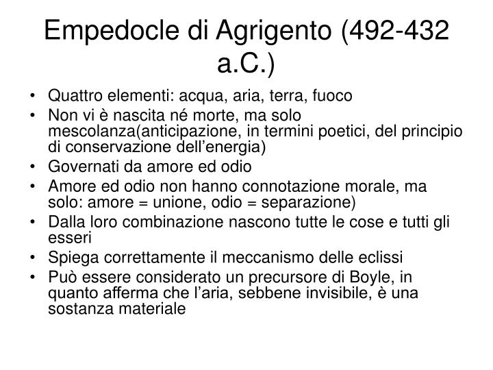 Empedocle di Agrigento (492-432 a.C.)