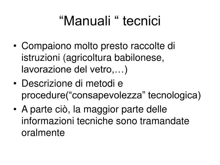 """""""Manuali """" tecnici"""