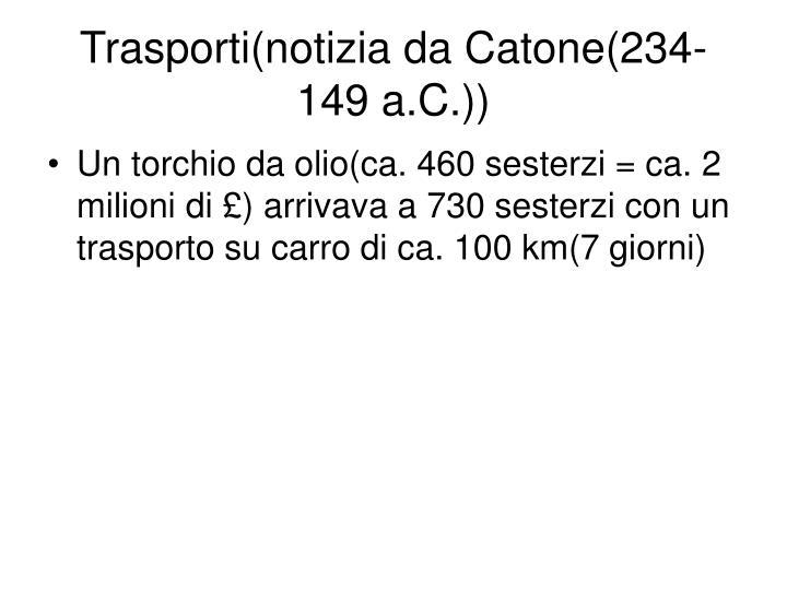 Trasporti(notizia da Catone(234-149 a.C.))
