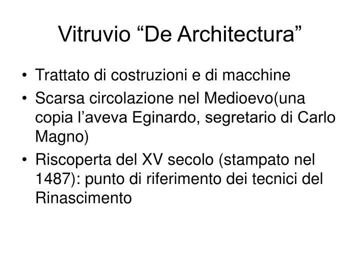 """Vitruvio """"De Architectura"""""""