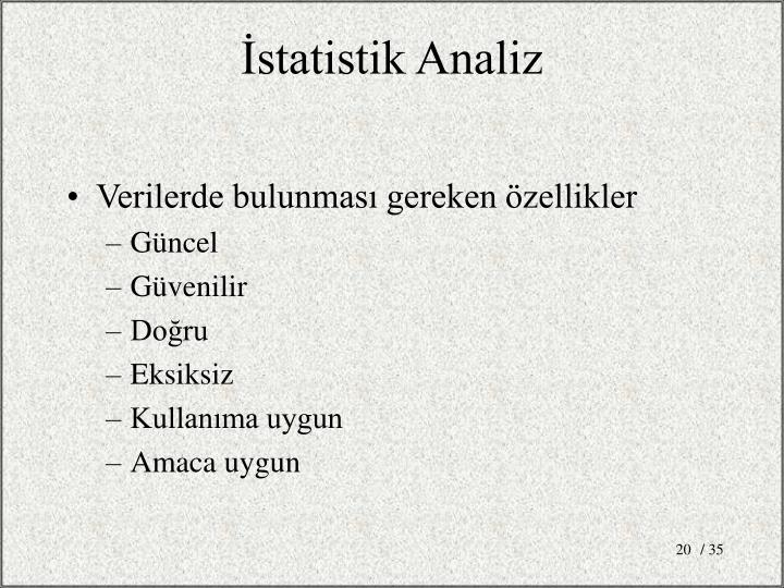 İstatistik Analiz