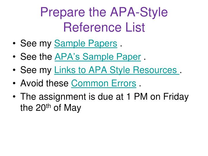 Prepare the APA-Style Reference List