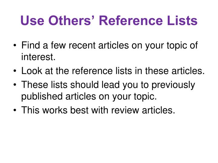 Use Others' Reference Lists