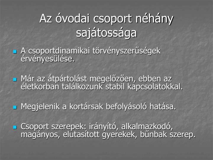 Az óvodai csoport néhány sajátossága