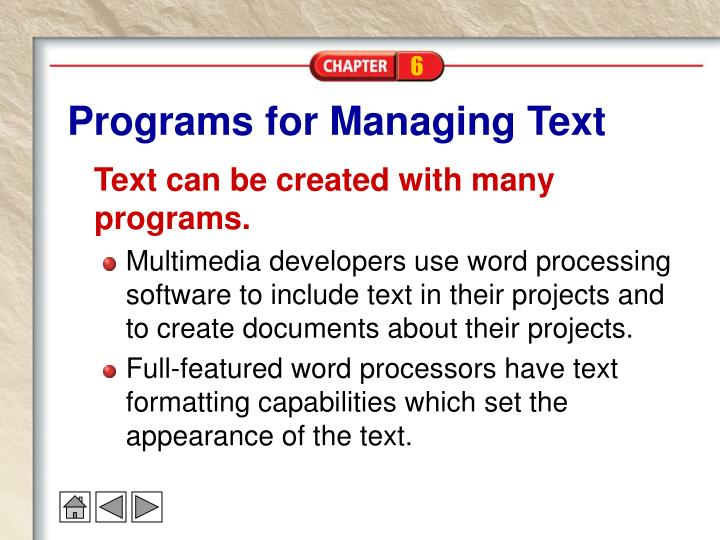 Programs for Managing Text