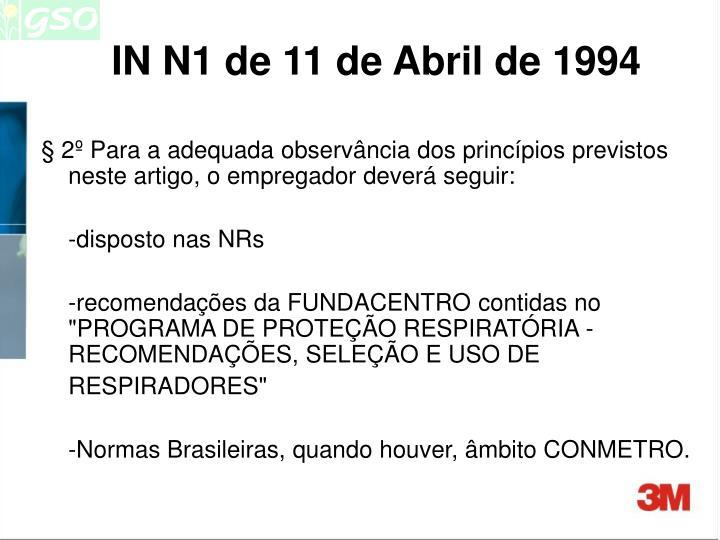IN N1 de 11 de Abril de 1994
