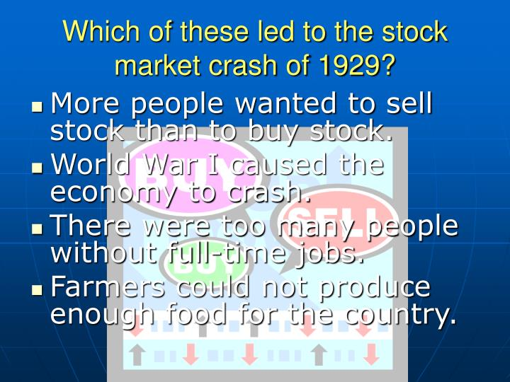 Which of these led to the stock market crash of 1929?