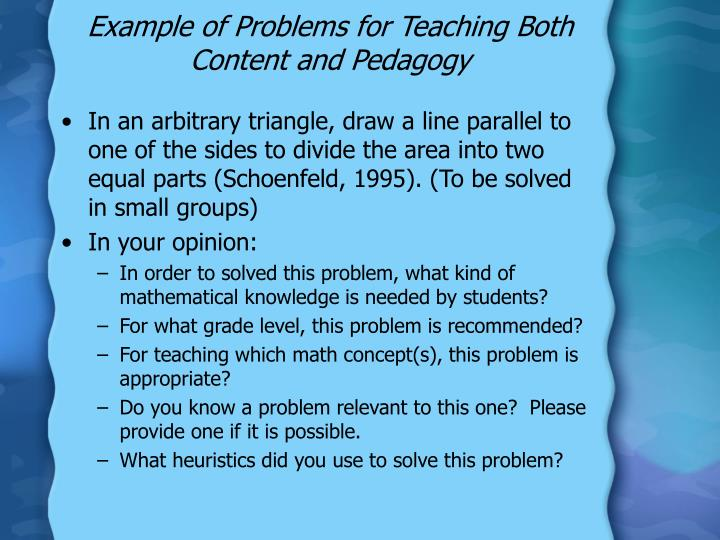 Example of Problems for Teaching Both Content and Pedagogy