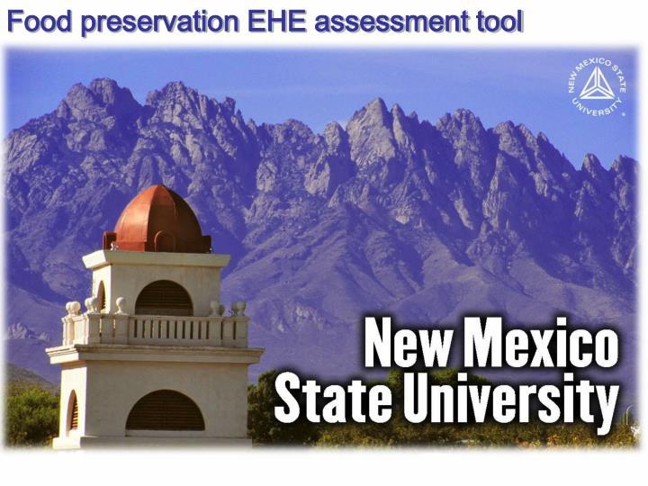 Food preservation EHE assessment tool
