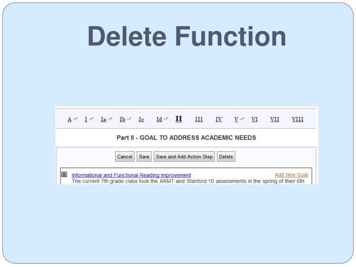 Delete Function