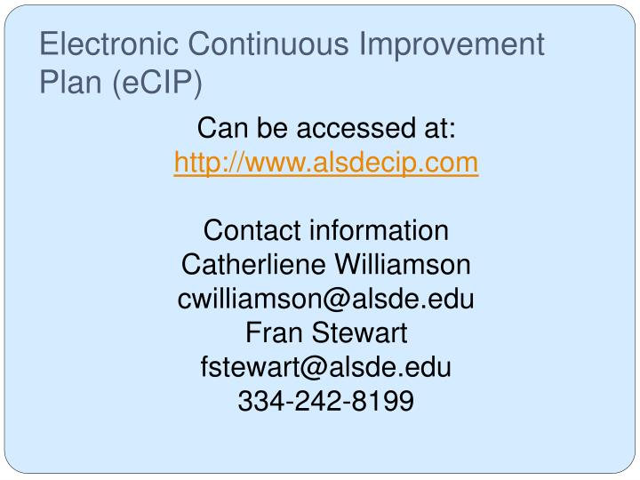 Electronic Continuous Improvement Plan (