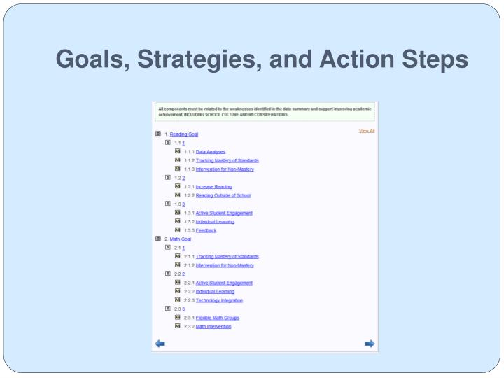 Goals, Strategies, and Action Steps