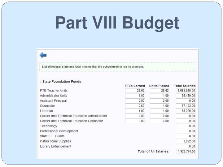 Part VIII Budget