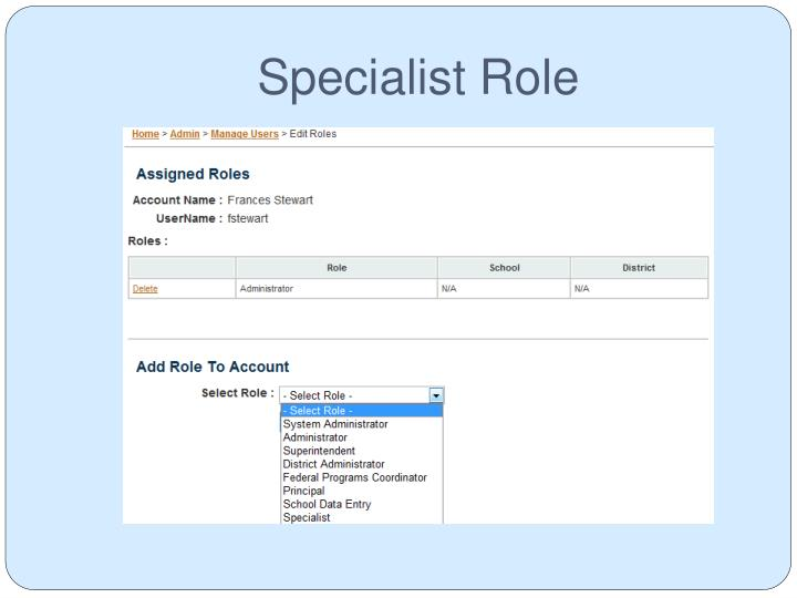 Specialist Role