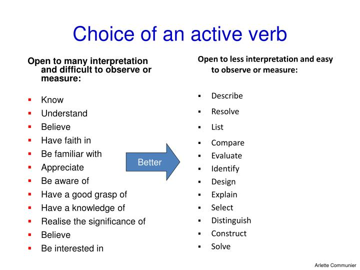 Choice of an active verb