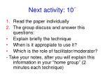 next activity 10
