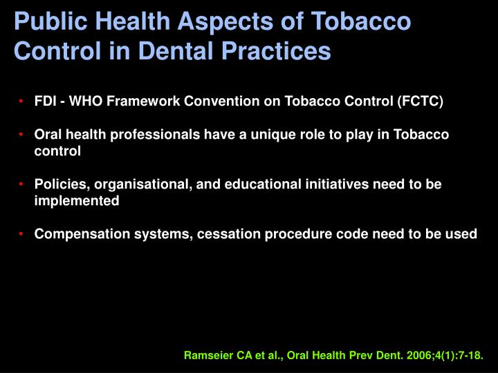 Public Health Aspects of Tobacco Control in Dental Practices