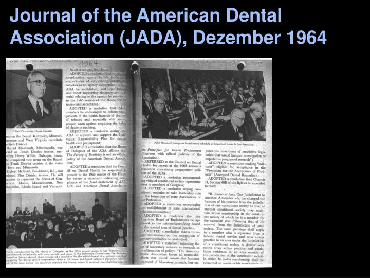 Journal of the American Dental Association (JADA), Dezember 1964