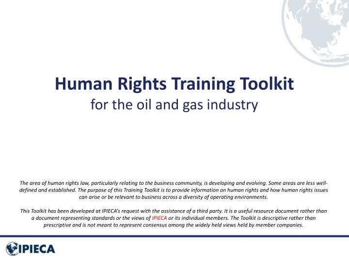 Human rights training toolkit for the oil and gas industry