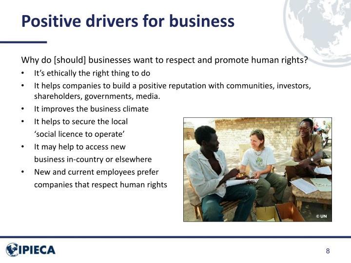 Positive drivers for business