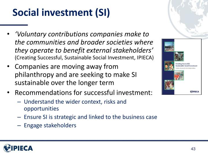 Social investment (SI)