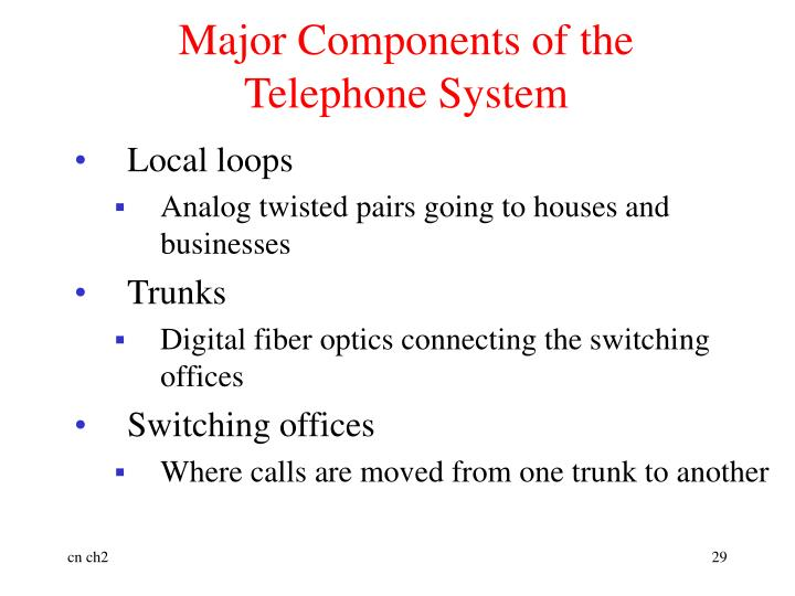 Major Components of the Telephone System