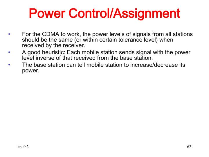 Power Control/Assignment